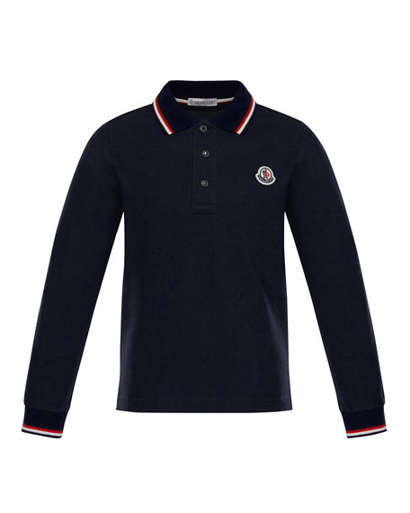 Long-Sleeve Stripe-Trim Polo, Size 4-6