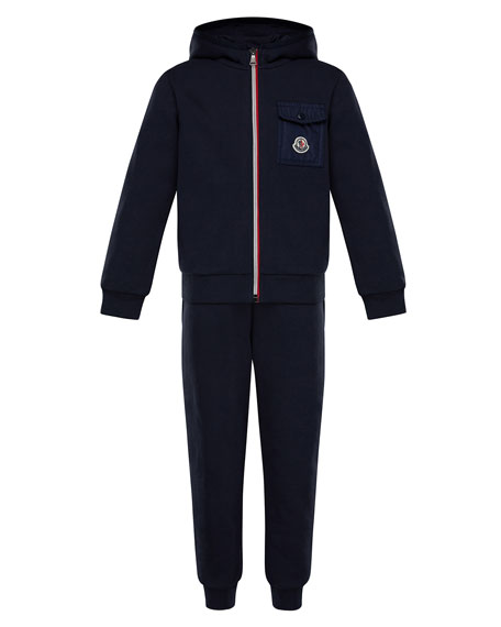 Moncler Zip-Up Hooded Jacket w/ Sweatpants, Size 4-6