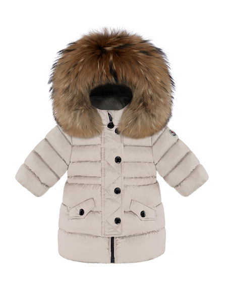 Moncler Essential Fitted-Waist Puffer Coat w/ Fur-Trim, Size