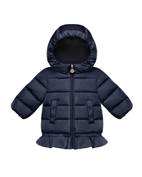 Moncler Azinza Peplum Puffer Jacket, Size 12M-3T