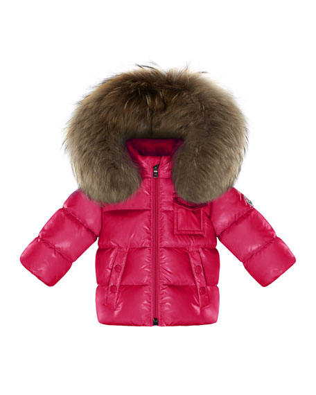 Moncler K2 Hooded Fur-Trim Puffer Coat, Fuchsia, Size