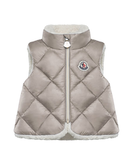 Ysaline Quilted Sherpa-Lined Vest, Size 12M-3T