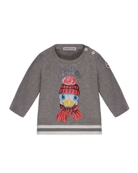 Moncler Long-Sleeve Duck T-Shirt, Size 6M-3T