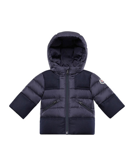 Moncler Hector Quilted Coat w/ Wool Trim, Size