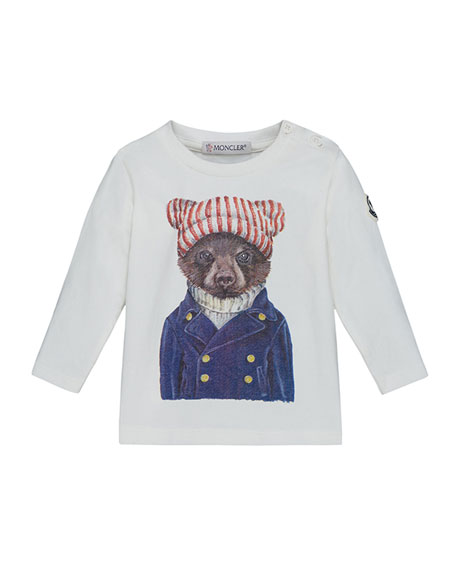 Moncler Maglia Long-Sleeve Bear T-Shirt, Size 12M-3T