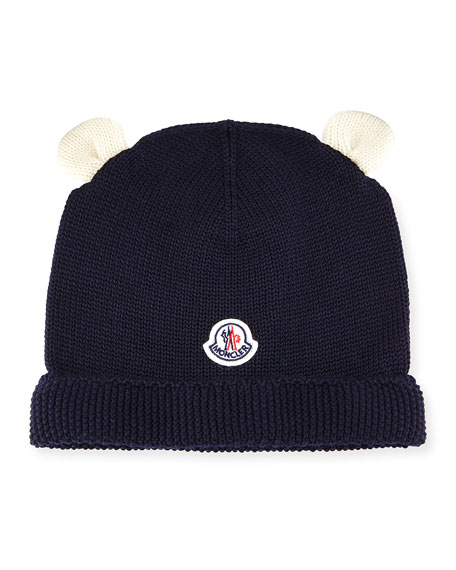 Moncler Berretto Animal Ears Knit Beanie Hat, Navy,