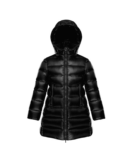 Moncler Suyen Hooded Long Puffer Coat, Black, Sizes