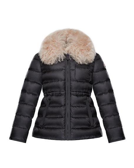 Moncler Abelia Shearling-Collar Quilted Coat, Size 4-6