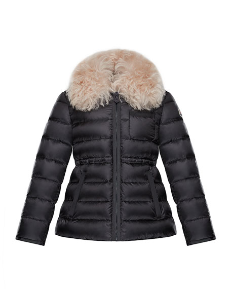 Moncler Abelia Shearling-Collar Quilted Coat, Size 8-14