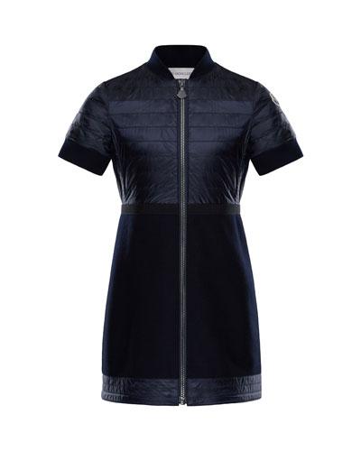 Short-Sleeve Abito Mixed Media Coat, Size 4-6