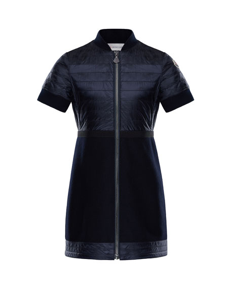 Moncler Short-Sleeve Abito Mixed Media Dress, Size 4-6