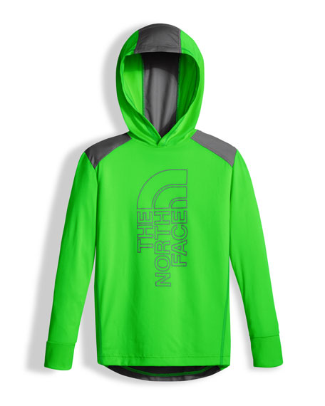 The North Face Long-Sleeve Reactor Hoodie, Lime, Boys'