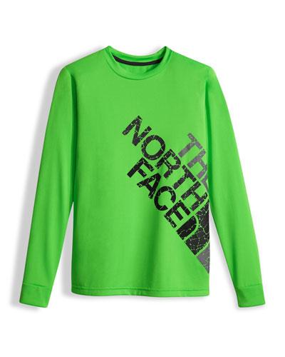Boys' Long-Sleeve Logo Reaxion Tee, Green, Size XXS-XL