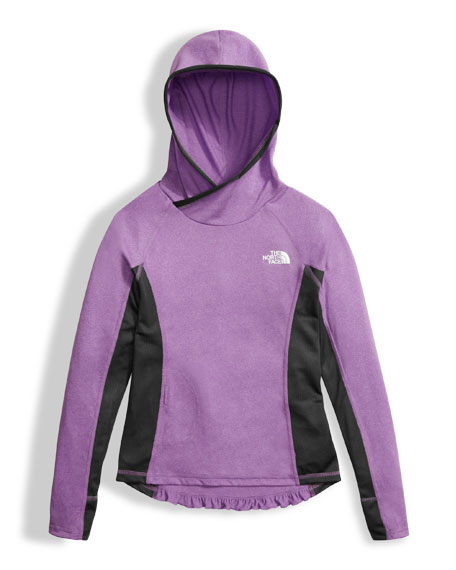 The North Face Girls' Long-Sleeve Reactor Hoodie, Purple,