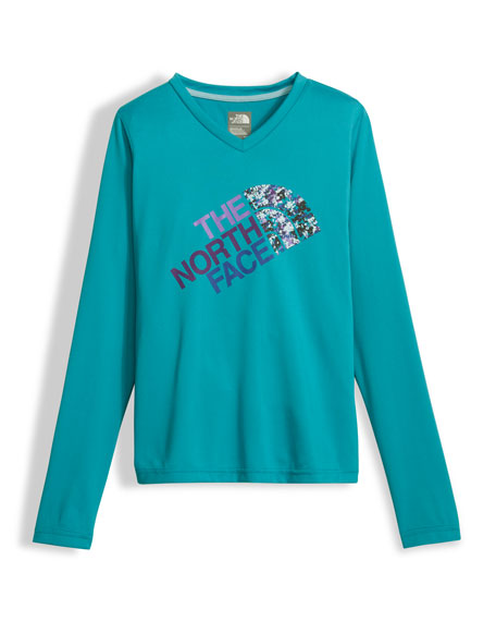 Girls' Long-Sleeve Sequin Logo Reaxion Tee, Blue, Size XXS-XL