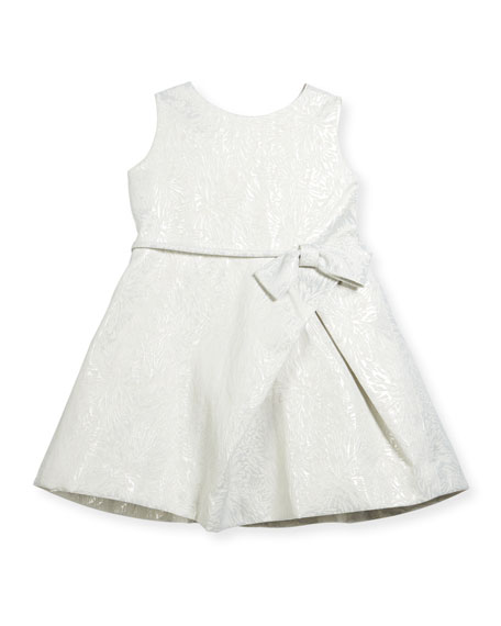 Helena Inverted-Pleat Jacquard Dress, Size 2-6 and Matching