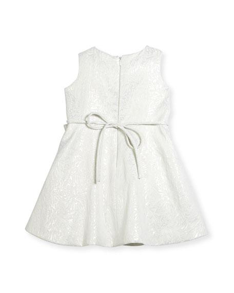 Inverted-Pleat Jacquard Dress, Size 7-14