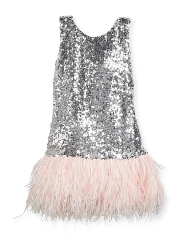 Cece Sequin Dress w/ Feather Hem, Size 7-16