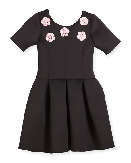 Flower Stud Box-Pleat Dress, Size 4-6X
