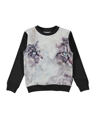 Regine Crewneck Snow Cat Sweatshirt, Size 4-12