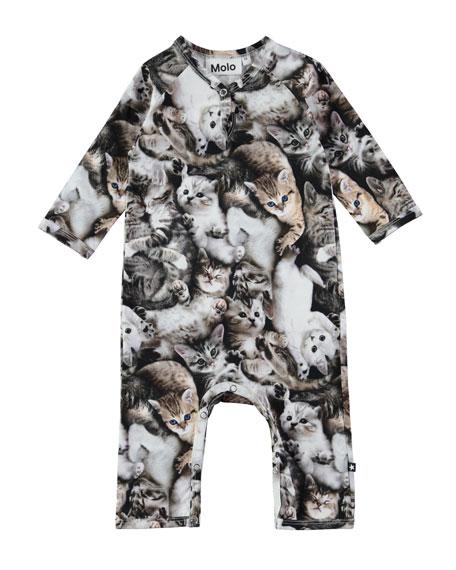 Fiona Raglan Cat-Print Coverall, Size 3-12 Months