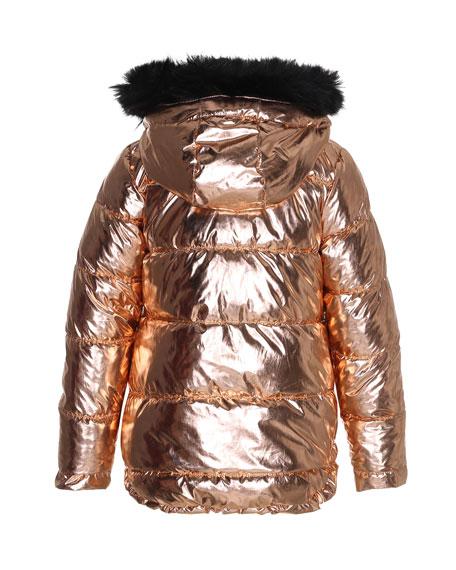 Hedia Metallic Puffer Jacket w/ Faux-Fur Trimmed Hood, Size 4-12