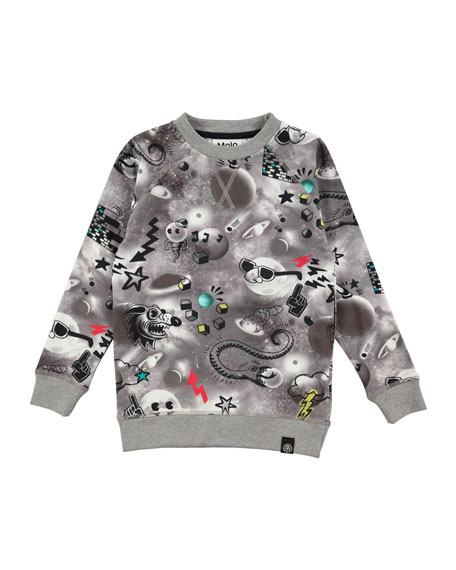 Molo Romeo Long-Sleeve Space Sweatshirt, Size 4-10
