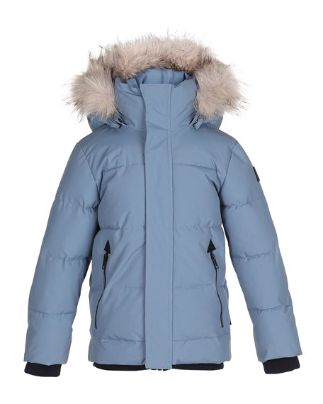 Molo Herbert Hooded Puffer Jacket w/ Faux-Fur Trim,