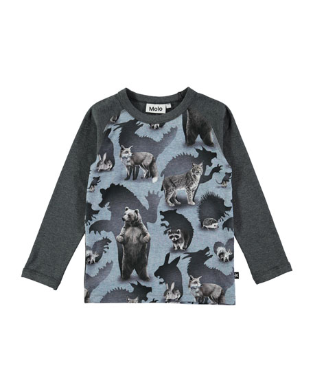 Molo Remington Long-Sleeve Animal T-Shirt, Size 4-10