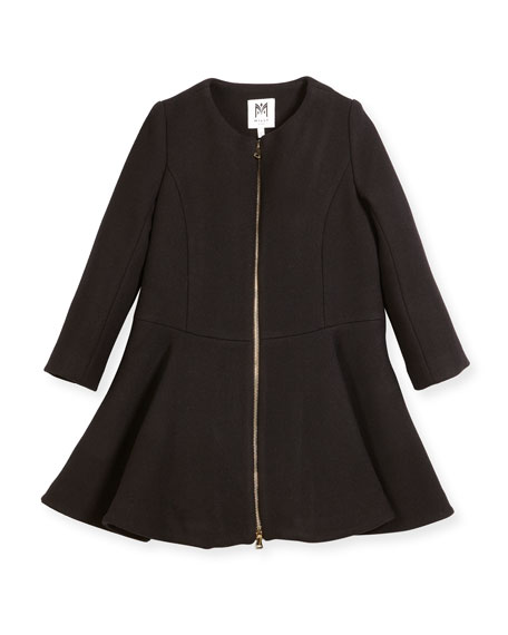 Emma Double-Face Wool-Blend Coat, Size 4-7