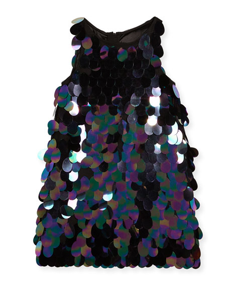 Milly Minis Paillette Sequin Angular Shift Dress, Size
