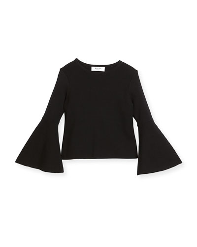 Knit Bell-Sleeve Pullover Blouse, Size 8-14