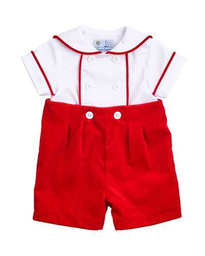 Two-Tone Twill Shirt w/ Shorts, Size 3-18 Months