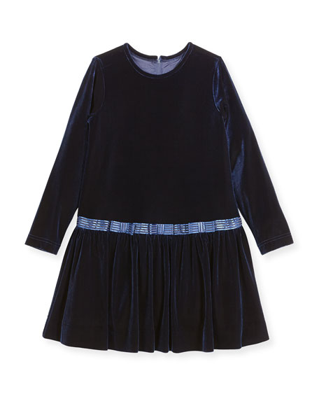 Stretch Velvet Dress w/ Bows, Size 7-10