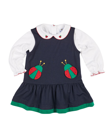 French Terry Ladybug Jumper w/ Blouse, Size 2-6