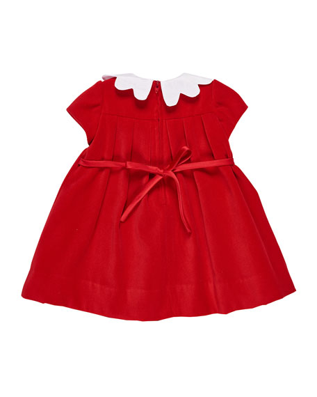 Twill Velvet Dress w/ Scalloped Collar, Size 3-24 Months