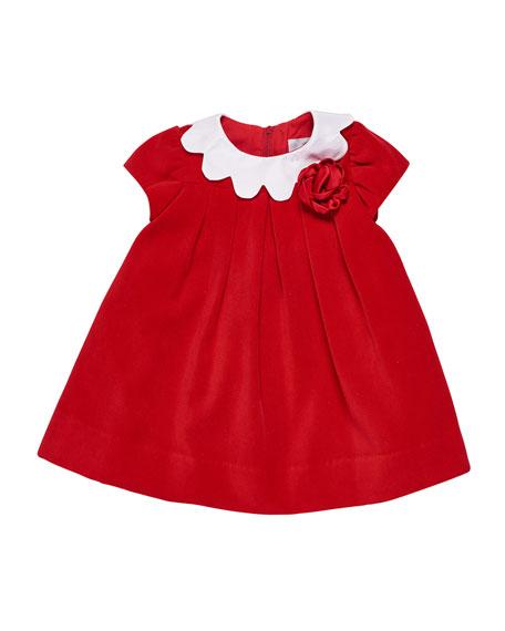 Florence Eiseman Twill Velvet Dress w/ Scalloped Collar,