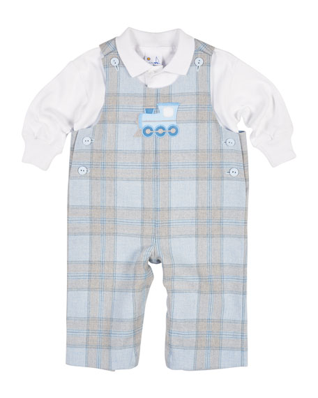 Florence Eiseman Plaid Train Overalls w/ Polo, Size