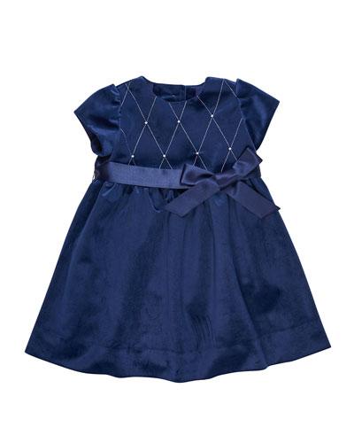 Twill Velvet Lattice Dress w/ Pearly Trim, Size 12-24 Months