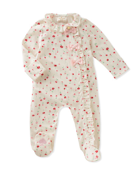 ruffle & bows rose-print footie pajamas, size 3-9 months