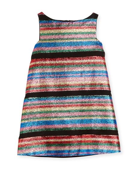 Milly Minis Multi-Stripe Illusion Lurex® Shift Dress, Size