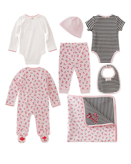 7-piece cherry starter layette set, size 3-9 months