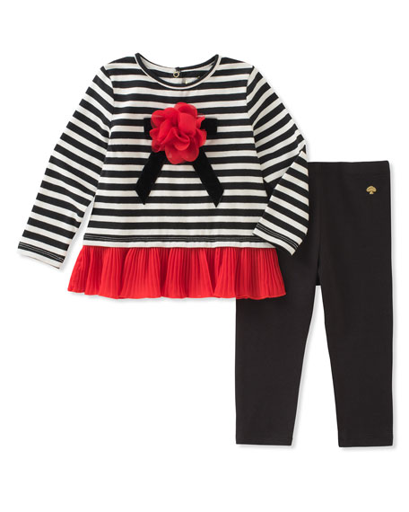 striped bow shirt w/ leggings, size 12-24 months