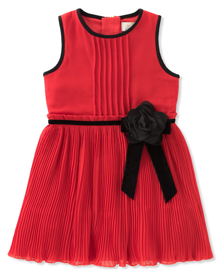 kate spade new york girls' pleated chiffon dress,