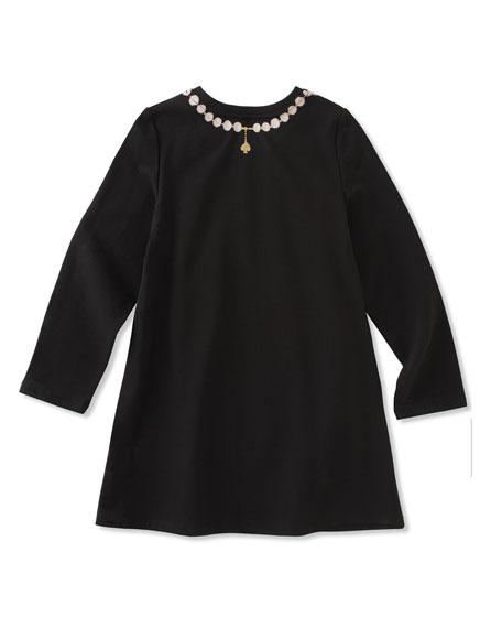 pearl necklace trompe l'oeil dress, size 7-14