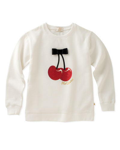 cherries sweatshirt with bow, size 2-6
