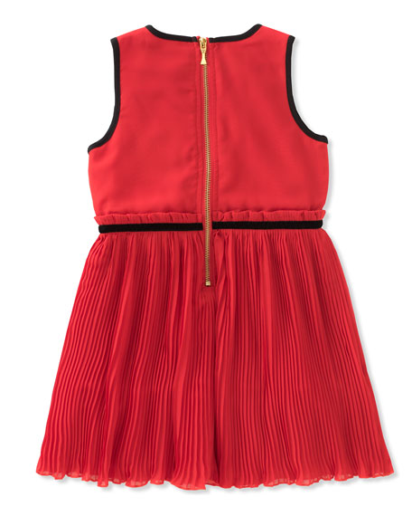 girls' pleated chiffon dress, size 7-14