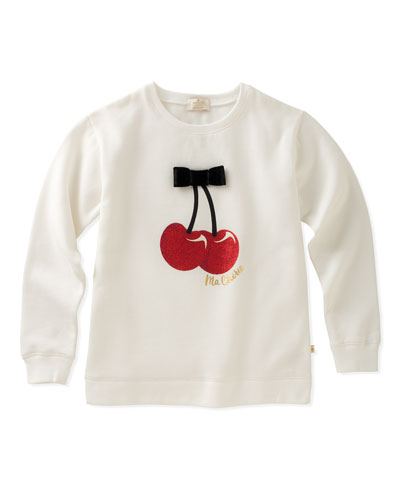 cherries sweatshirt with bow, size 7-14