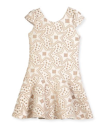 Cali Knit Jacquard Studded Flounce-Hem Dress, Size 4-6X