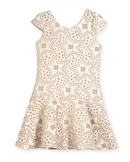 Zoe Cali Knit Jacquard Studded Flounce-Hem Dress, Size
